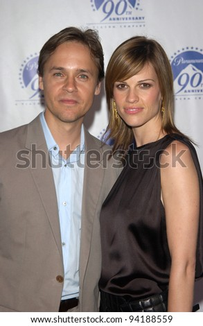 Actress HILARY SWANK & actor husband CHAD LOWE at the Paramount Pictures 90th Anniversary Gala at Paramount Studios, Hollywood. 14JUL2002.   Paul Smith / Featureflash - stock photo