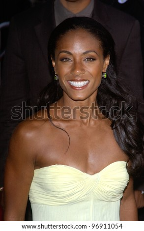 Actress JADA PINKETT SMITH at the world premiere, in Los Angeles, of her new movie Collateral. August 2, 2004 - stock photo