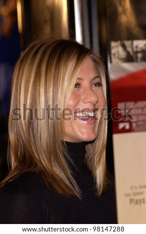 Actress JENNIFER ANISTON at the world premiere, in Los Angeles, of Spy Game. 19NOV2001.  Paul Smith/Featureflash - stock photo
