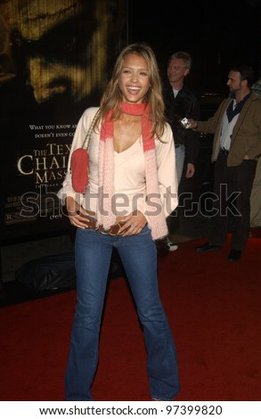 Actress JESSICA ALBA at the world premiere, in Hollywood, of The Texas Chainsaw Massacre. Oct 15, 2003  Paul Smith / Featureflash - stock photo