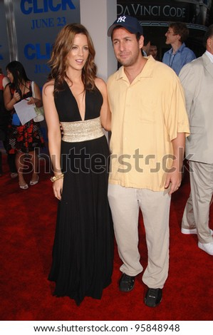 """Actress KATE BECKINSALE & actor ADAM SANDLER at the Los Angeles premiere of their new movie """"Click"""". June 14, 2006  Los Angeles, CA  2006 Paul Smith / Featureflash - stock photo"""