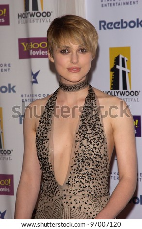 Actress KEIRA KNIGHTLEY at the 8th Annual Hollywood Film Festival's Hollywood Awards at the Beverly Hills Hilton. She won the award for Hollywood Breakthrough Actress. October 18, 2004 - stock photo