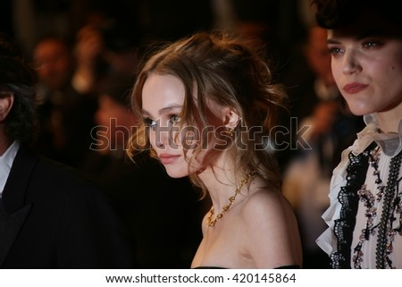 Actress Lily-Rose Depp, hair detail, attends the 'I, Daniel Blake' premiere during the 69th annual Cannes Film Festival at the Palais des Festivals on May 13, 2016 in Cannes, France. - stock photo