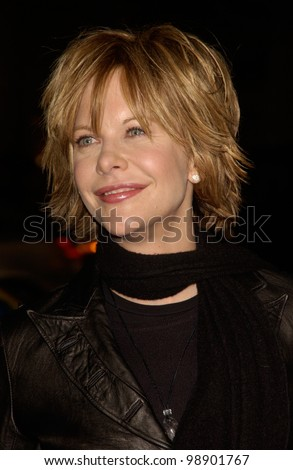 Actress MEG RYAN at the world premiere in Hollywood of her new movie Against the Ropes. February 11, 2004