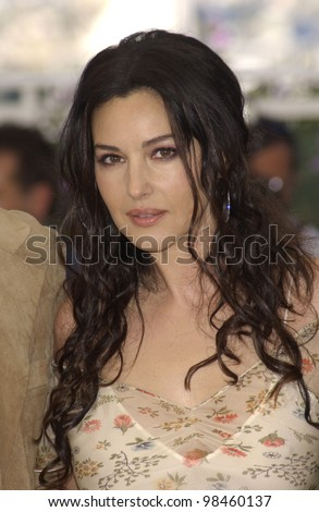 Actress MONICA BELLUCCI at the photocall in Cannes for her new movie The Matrix Reloaded which is showing out-of-competition at the Cannes Film Festival.