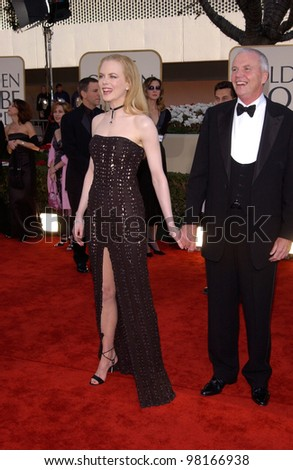 Actress NICOLE KIDMAN & father at the 59th Annual Golden Globe Awards in Beverly Hills. 20JAN2002  Paul Smith/Featureflash - stock photo