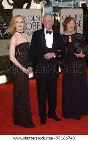 Actress NICOLE KIDMAN & parents at the 59th Annual Golden Globe Awards in Beverly Hills. 20JAN2002  Paul Smith/Featureflash