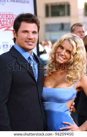Actress/pop star JESSICA SIMPSON & husband pop star NICK LACHEY at the Los Angeles premiere of her new movie The Dukes of Hazzard. July 28, 2005 Los Angeles, CA  2005 Paul Smith / Featureflash