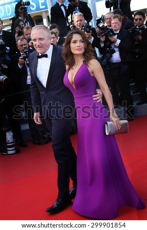Actress Salma Hayek,  Francois Henri Pinault  attend the 'Carol' Premiere during the 68th annual Cannes Film Festival on May 17, 2015 in Cannes, France. - stock photo