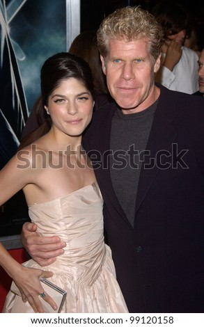 Actress SELMA BLAIR & actor RON PERLMAN at the Los Angeles premiere of their new movie Hellboy. March 30, 2004