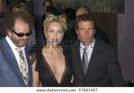 Actress SHARON STONE & actor DENNIS QUAID & producer/director MIKE FIGGIS at the world premiere, in Hollywood, of their new movie Cold Creek Manor. Sept 17, 2003  Paul Smith / Featureflash