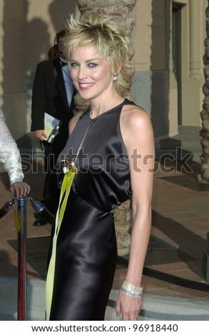 Actress SHARON STONE at the 2004 Primetime Creative Arts Emmy Awards at the Shrine Auditorium, Los Angeles. September 12, 2004 - stock photo