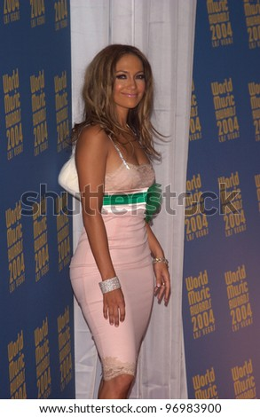 Actress/singer JENNIFER LOPEZ at the 16th Annual World Music Awards at the Thomas and Mack Centre, Las Vegas. September15, 2004 - stock photo