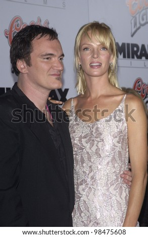 Actress UMA THURMAN & director QUENTIN TARANTINO at the Los Angeles premiere of their new movie Kill Bill. Sept 29, 2003  Paul Smith / Featureflash - stock photo