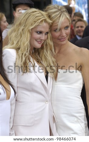 Actresses DREW BARRYMORE (left) & CAMERON DIAZ at the Hollywood premiere of their new movie Charlie's Angels: Full Throttle. June 18, 2003  Paul Smith / Featureflash - stock photo