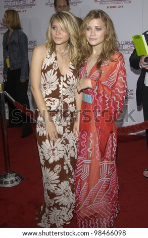 Actresses MARY-KATE OLSEN & ASHLEY OLSEN at the Hollywood premiere of  Charlie's Angels: Full Throttle. June 18, 2003  Paul Smith / Featureflash - stock photo