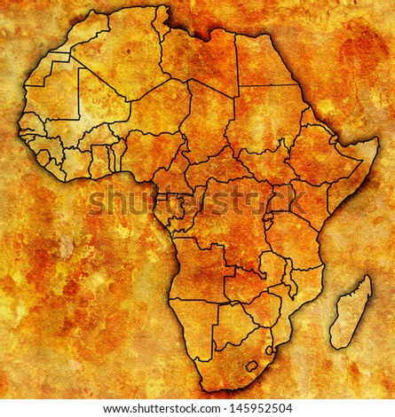 actual vintage political map of africa with flags - stock photo