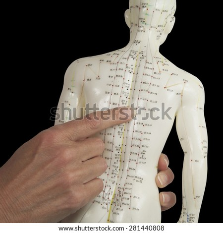 Acupuncturist pointing to BL17 on Acupuncture Model    Close up of a female acupuncturist hand holding an Acupuncture Model pointing to the BL17 acupoint on the Model against a black background - stock photo