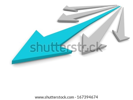 Acute arrows with leader. Concept. 3d illustration - stock photo