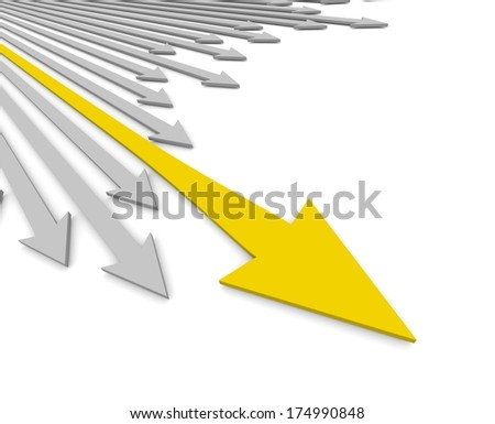 Acute arrows with leader. Concept. 3d illustration. - stock photo