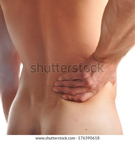 Acute pain in a man back.