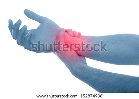 Acute pain in a men hand. Isolation on a white background