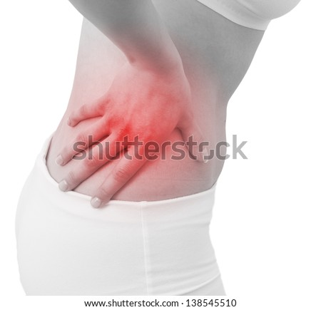 Acute pain in a woman abdomen. Female holding hand to spot of Abdomen-ache. Concept photo with Color Enhanced blue skin with read spot indicating location of the pain. Isolation on a white background. - stock photo