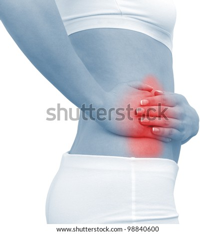 Acute pain in a woman abdomen. Female holding hand to spot of Abdomen-ache. Concept photo with Color Enhanced blue skin with read spot indicating location of the pain. Isolation on a white background - stock photo