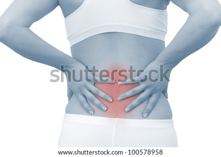 Acute pain in a woman back. Female from behind holding hand to spot of back pain. Color Enhanced blue skin with read spot indicating location of the pain. Isolation on a white background.