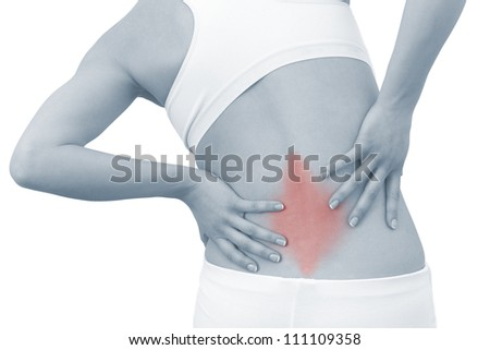 Acute pain in a woman back. Female from behind holding hand to spot of back pain. Concept photo with Color Enhanced blue skin with read spot indicating location of the pain. Isolation on a white. - stock photo