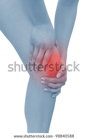 Acute pain in a woman  knee. Female holding hand to spot of knee-aches. Concept photo with Color Enhanced blue skin with read spot indicating location of the pain. Isolation on a white background.