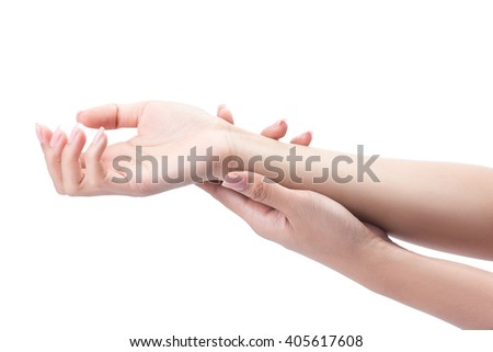 Acute pain in a woman palm, a woman massaging her painful hand isolated on a white with clipping path.