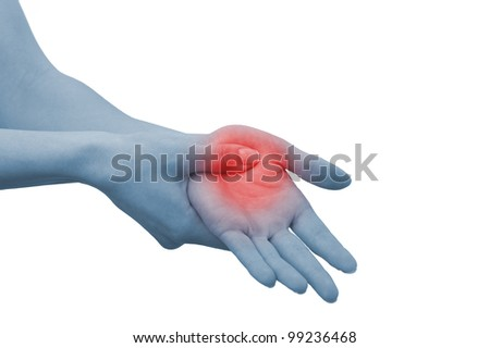 Acute pain in a woman palm. Female holding hand to spot of palm-ache. Concept photo with Color Enhanced blue skin with read spot indicating location of the pain. Isolation on a white background. - stock photo