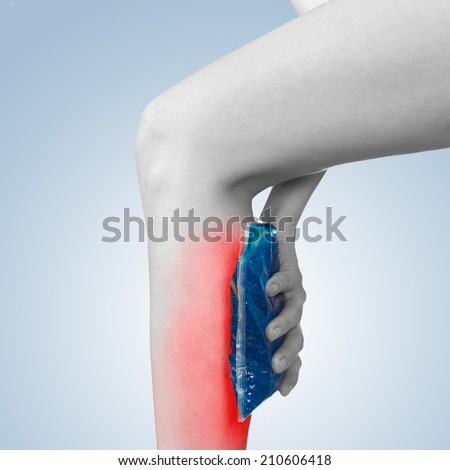 Acute pain in a woman sword. Woman holding hand to spot of sword-aches. - stock photo