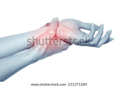 Acute pain in a women wrist. Isolation on a white background  - stock photo