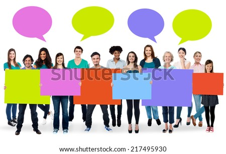 Ad concept. Colorful boards and speech bubbles. - stock photo