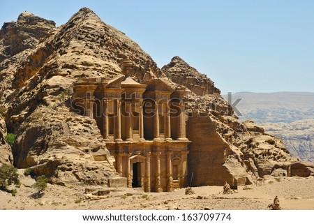Ad Deir, monastery in Petra, Jordan - stock photo
