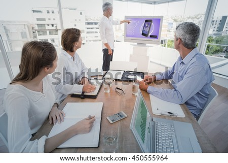 Ad for a new application against business people listening to colleagues presentation - stock photo