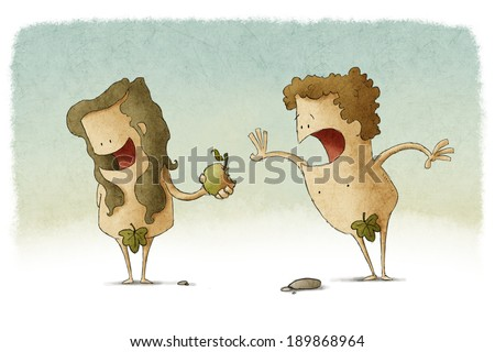 Adam and eve and the original sin. - stock photo