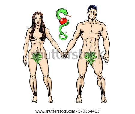Adam and Eve with snake and apple