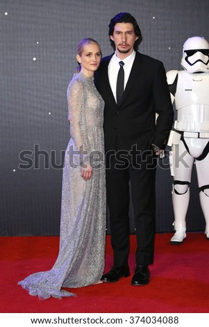 """Adam Driver & Joanne Tucker at the European premiere of """"Star Wars: The Force Awakens"""" in Leicester Square, London.  December 16, 2015  London, UK Picture: James Smith / Featureflash - stock photo"""
