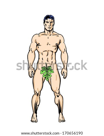 Adam from the garden of Eden comic illustrated character drawing - stock photo