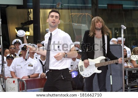 Adam Levine, Mickey Madden on stage for NBC Today Show Concert with Maroon 5, Rockefeller Center, New York, NY, May 28, 2007 - stock photo