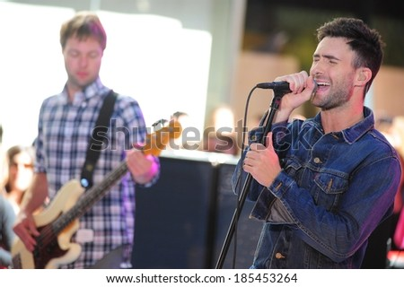 Adam Levine on stage for NBC Today Show Concert with Maroon 5, Rockefeller Plaza, New York, NY July 2, 2010 - stock photo
