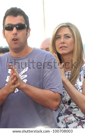 Adam Sandler, Jennifer Aniston at the Jennifer Aniston Star on the Hollywood Walk Of Fame, Hollywood, CA 02-22-12