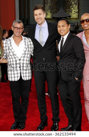 """Adam Shankman, Scott Speer and Jon M. Chu at the Los Angeles premiere of """"Step Up Revolution"""" held at the Grauman's Chinese Theatre in Los Angeles, California, United States on July 17, 2012.   - stock photo"""
