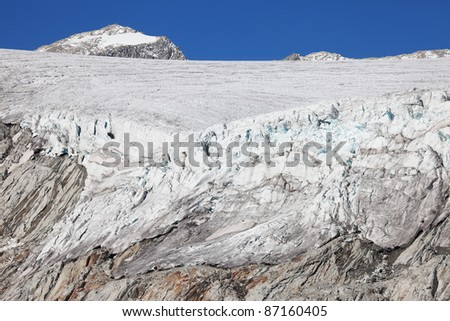 Adamello Glacier, Brixia province, Lombardy region, Italy. Adamello Peak at 3.539 meters on the sea-level as background