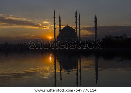 ADANA, TURKEY - JANUARY 04, 2017: Sabanci Central Mosque, seyhan river, Adana Turkey.
