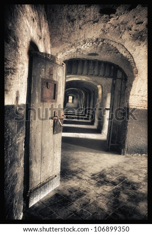 adandonment - old jail for childeren  with door - stock photo
