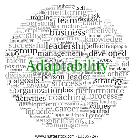 Adaptability concept in word tag cloud on white background
